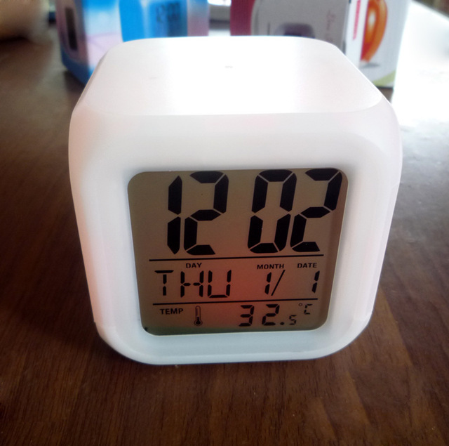 7 Color Glowing LED Change Digital Alarm Clock Thermometer Cube Clock Time Night Glowing Cub Data Week and Temperature Display
