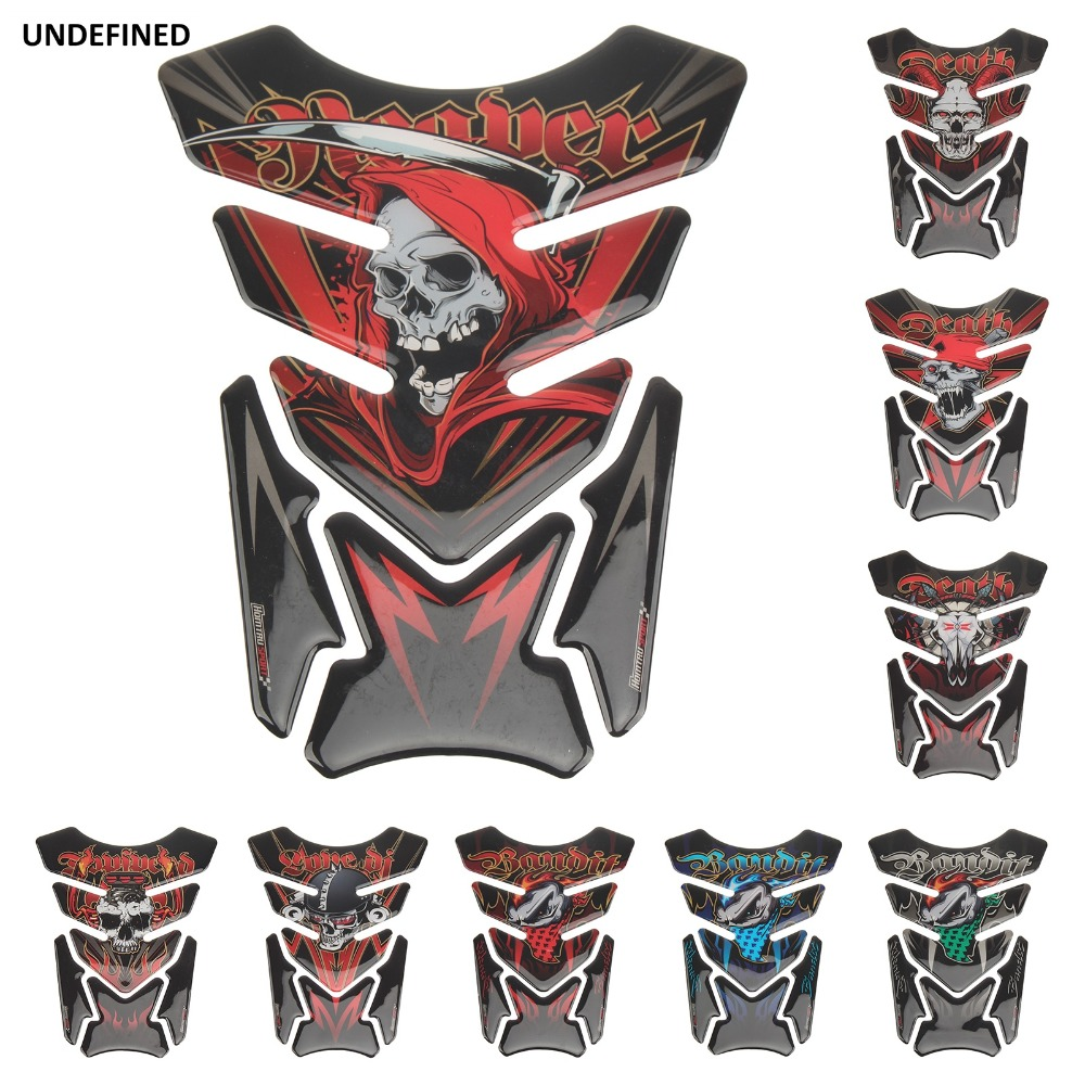3D Skull Stickers Moto Tank Pad Gel Protector Sticker Decal For Honda CB CBR Suzuki Bandit 600 650 1200 1250 650S 600S Yamaha
