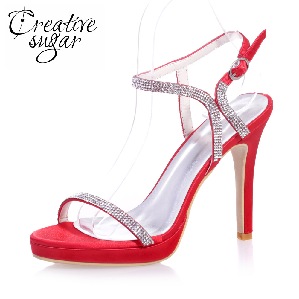 Creativesugar ladies elegant rhinestone diamond band sexy stiletto sandals summer satin dress shoes red ivory blue white purple
