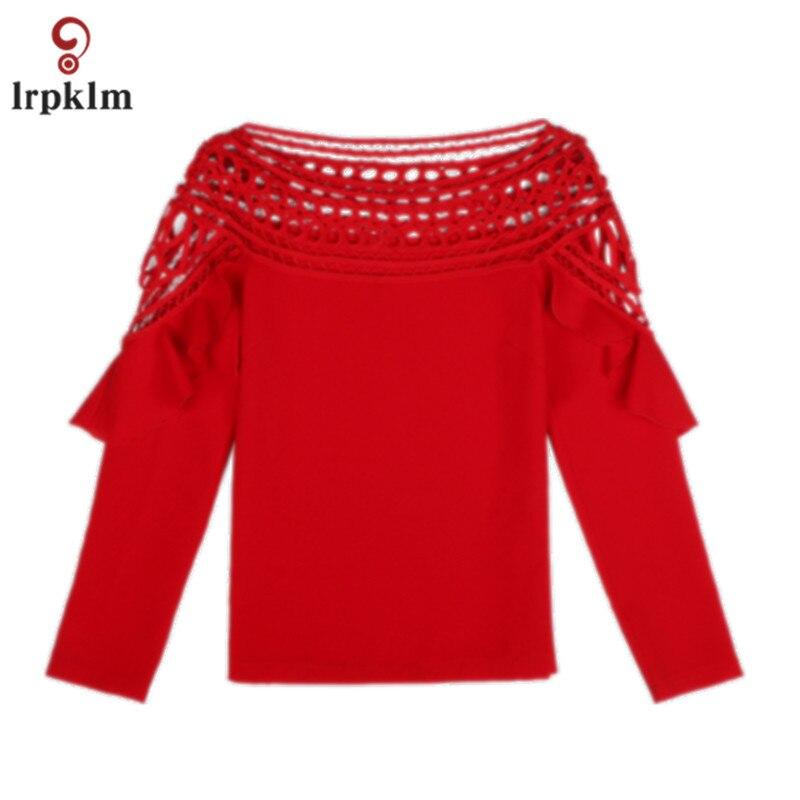 Grande taille 3XL 2017 nouveau printemps automne femmes à manches longues rouge blanc noir en mousseline de soie Blouse creuse chemise Crochet hauts YY758 - 5