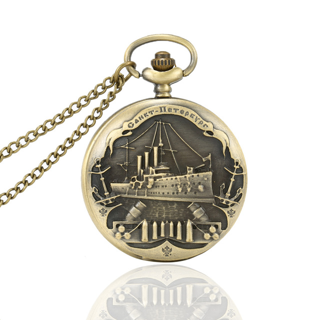 6 Styles Vintage Charming Train Boat Ship Carved Hollow Steampunk Quartz Pocket