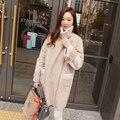 2017 venta Caliente de las mujeres chaquetas de invierno 2 colores de algodón de manga larga solapa abrigos de moda de piel de venado engrosamiento ropa femenina caliente