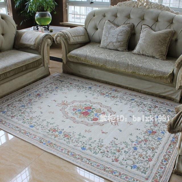 Katoenen tapijt euro landelijke stijl tapijten voor woonkamer en slaapkamer chic bloem vloermat - Size tapijt in de woonkamer ...