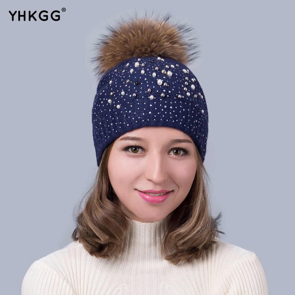 2018 con perla taladros muy de moda señora caliente invierno lana gorra de  punto de lana c14194c603f