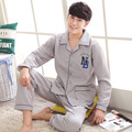 Pijamas Dos Homens de Impressão do Algodão Dos Homens Sleepwear 2016 Inverno Coreano Estilo Europa Nova Chegada Solto Tamanho Grande de Roupas de Marca