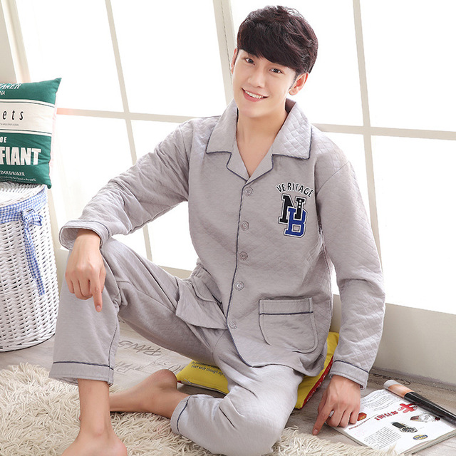 Pijamas de Los Hombres de Impresión de Algodón Para Hombre ropa de Noche 2016 de Invierno de Corea Del Estilo de Europa Nueva Llegada Loose Tamaño Grande Marca de Ropa
