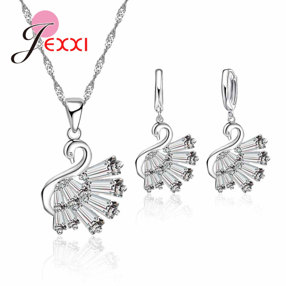 JEXXI 2018 Promotional New Arrivals 925 Sterling Silver Noble Swan Pendant Necklace Earrings Wedding Jewelry Set