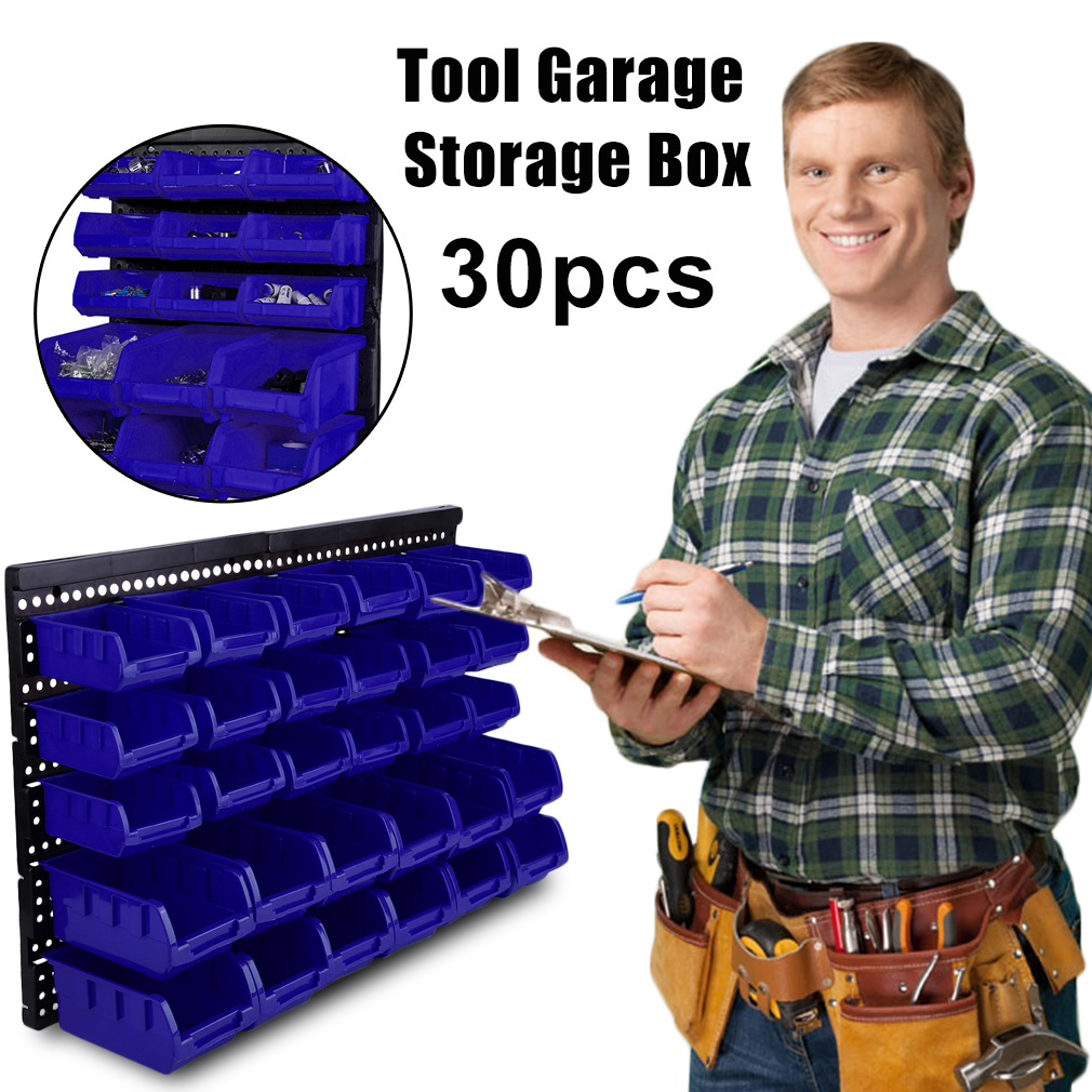 30pcs/set Wall Mounted Beveled Modular Parts Box Small Part Plastic Bins Organizer Rack Anti static Storage Rack Garage Tools