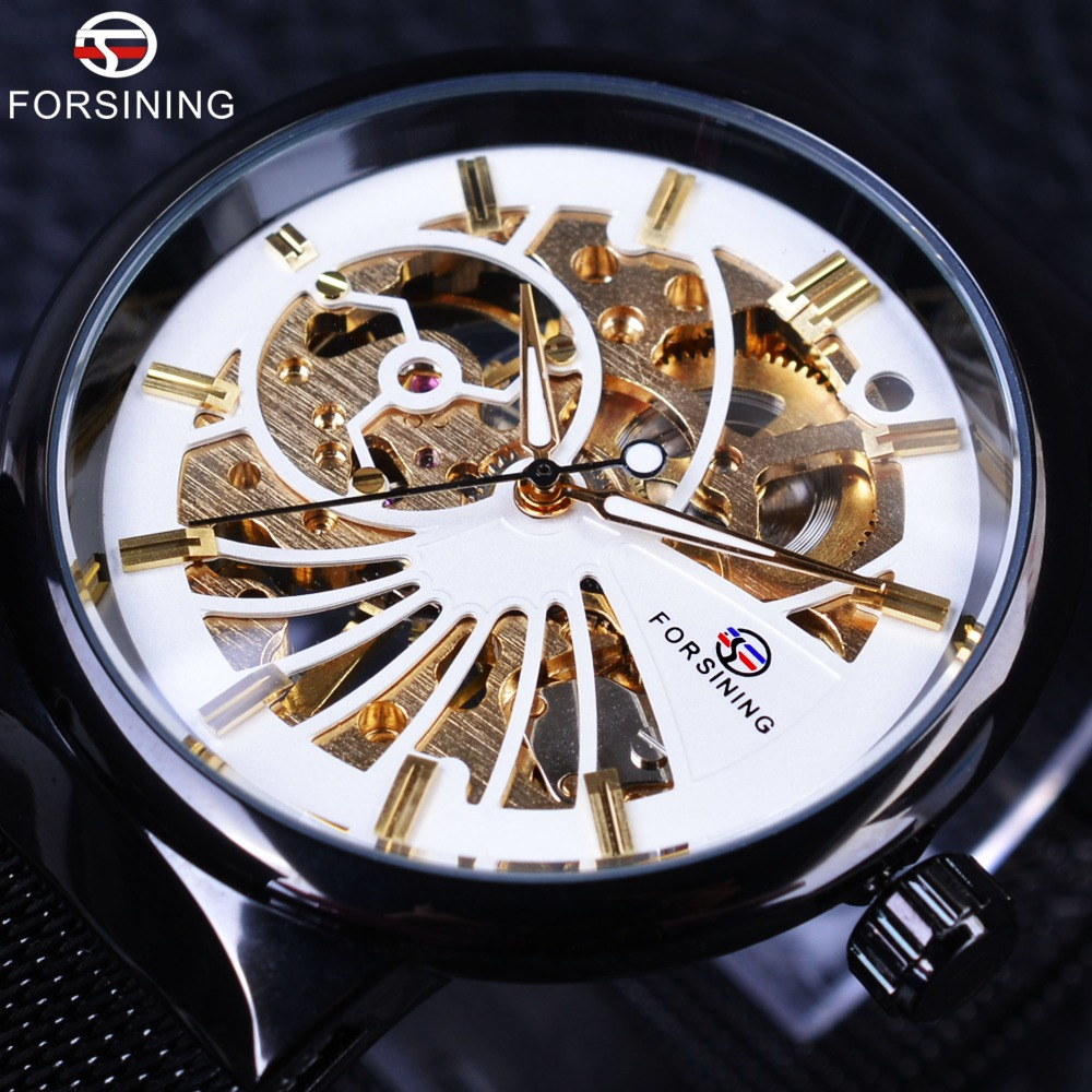 Forsining White Golden Dial Ultra Thin Case Mechanical Punk Black Steel Hook Buckle Fashion Men Skeleton Watch Top Brand Luxury ultra luxury 2 3 5 modes german motor watch winder white color wooden black pu leater inside automatic watch winder