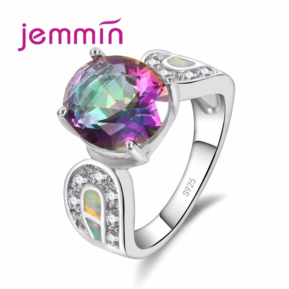 Halo Design White Opal Fine Ring Ring Daving Setting S925 Sterling Sliver with White Micro a Big Round Crystal pro dívky