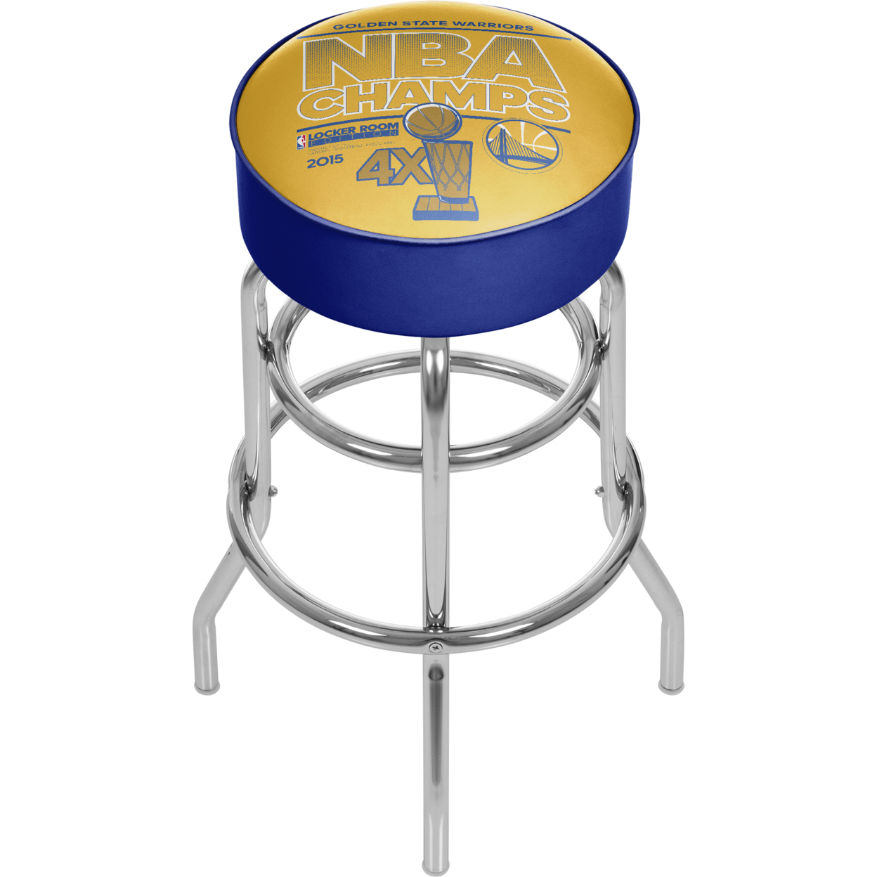 Golden State Warriors Chrome Bar Stool with Swivel - NBA Champs