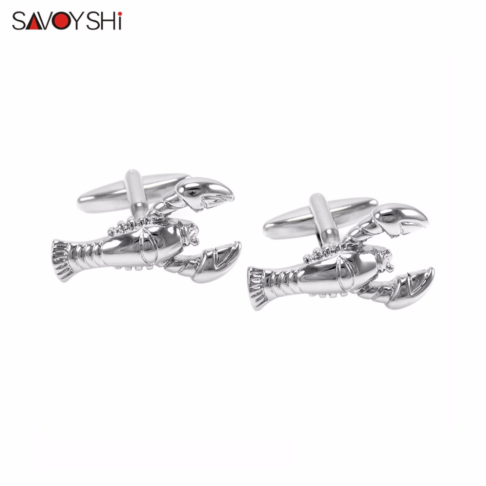 SAVOYSHI Brand 3D Silver Lobster Cufflinks For Mens High Quality Novelty Animals Cuff Buttons Costume Jewelry Christmas Gifts