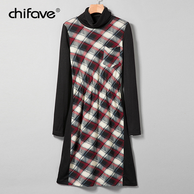 e8e63735e28 chifave Autumn Winter 2018 Women Dresses New Fashion Turtleneck Plaid Long  Sleeves Dresses Casual Patchwork Female Plaid Dresses
