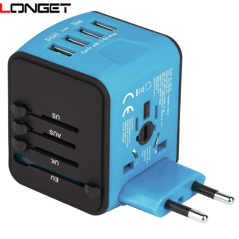 LONGET Reise Adapter Internationalen Universal Power Adapter Alle-in-one mit 3.4A 4 USB Weltweit Wand Ladegerät für UK/EU/AU/Asien