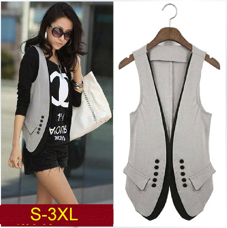 2014 New spring & summer women's fashion patchwork suit vest , lady's double-breasted slim vest , size S-XXXL