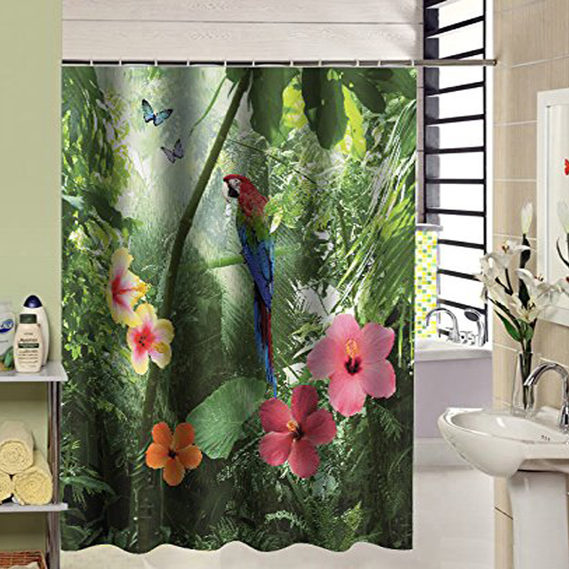 180X210cm 3D Shower Curtain Parrot Flower Design