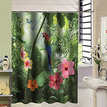 High Quality Polyester Shower Curtain Parrot  Nature Modern Design Waterproof Fabric Curtains For Bathroom 72 inch Free Shipping