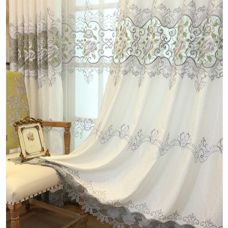 Elegant White Curtains For Living Room Luxurious Peony ...