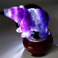 Natural Purple Fluorite Crystal Quartz Bear Hand carved figurine animal carving