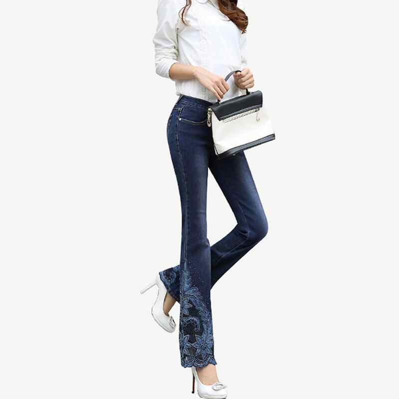 a46bbe7495 ... Spring Luxury Beading Embroidered Mid Waist Big Flared Jeans Female  Boot Cut Embroidery Lace Bell Bottom ...