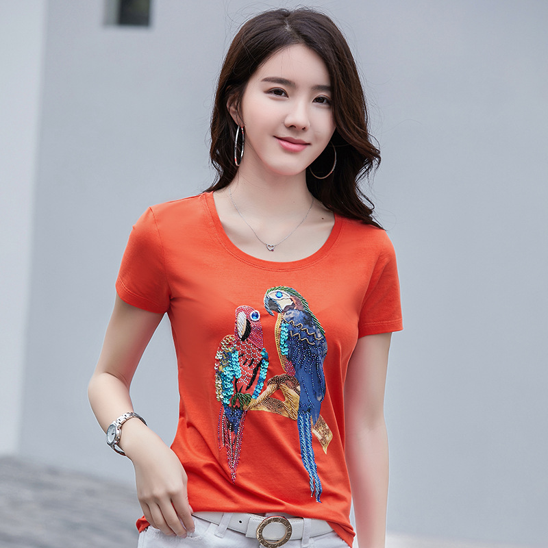 Short-sleeved T-shirt Printed Parrot Fashion Self-cultivation Handmade Nail Beads Leisure Women's Underwear T Shirt Plus Size