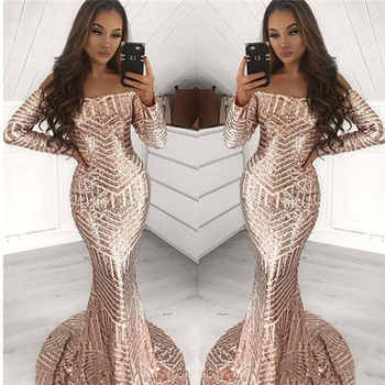 New arrival Elegant Muslim Long Sleeves Evening Dresse Sequin Bling Formal pattern trumpet Party Gown 2019 sequins