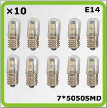 Wholesales 120V 220V 230V E14 1W 7*5050SMD 10*mini led bulbs bombilla LED blanco for freezer refrigerator sewing machine