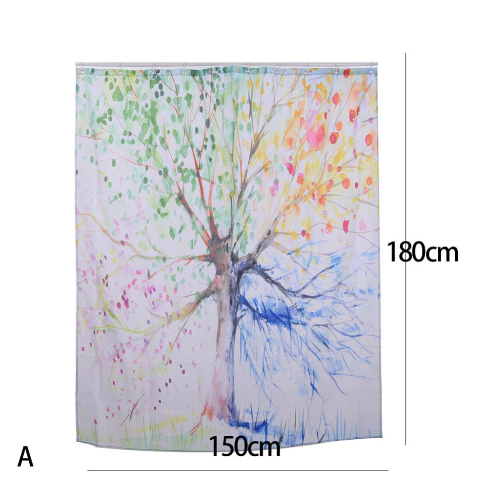 Durable Waterproof Polyester Green Red Yellow Brown Four Seasons Tree Shower Curtain With Hooks