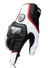 Luvas de couro genuíno para motocicletas, luvas de fibra de carbono para corrida e motocicleta 390