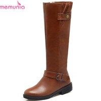 MEMUNIA Black Gray Brown Fashion Women Boots Round Toe Zipper Square Heel Ladies Boots Buckle High