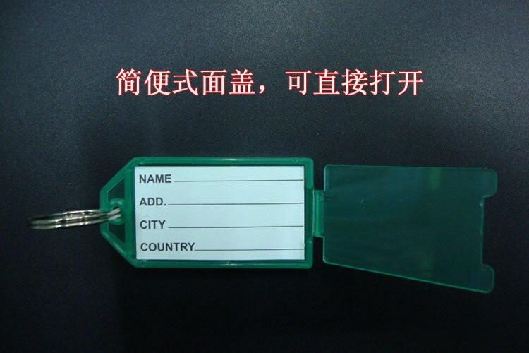 100Pcs Blank Plastic Rectangle Keychains luggage tag Insert Photo Keyrings key card number Free Shipping