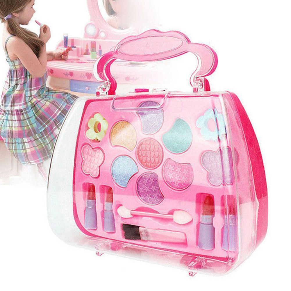 Paleta niñas princesa niños conjunto de maquillaje cosmético Kit de plástico de los niños de simulación de juego maleta regalo Navidad simulación juguete divertido