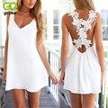 GOPLUS Women Sexy V Neck Backless Lace Crochet Dress Summer Beach Strap Sleeveless Plus Size Mini Chiffon Vestidos Party Dress