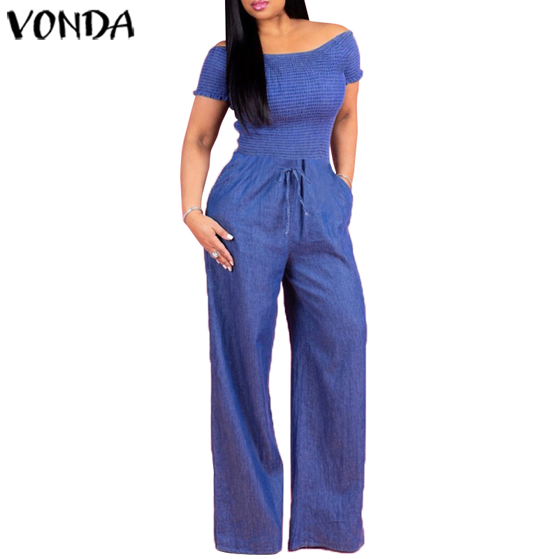 VONDA Casual Demin Rompers Women Jumpsuit Sexy Off Shoulder Playsuits Summer Bohemian Wide Leg Pants Office Overalls Plus Size