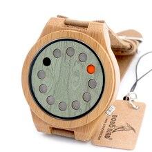2016 Мода 12 Отверстия Дисплей Зеленый Циферблат Бамбук Деревянные Часы Мужская Кожа Аналоговый Кварцевые Наручные Часы Высокого Качества Часы Древесины