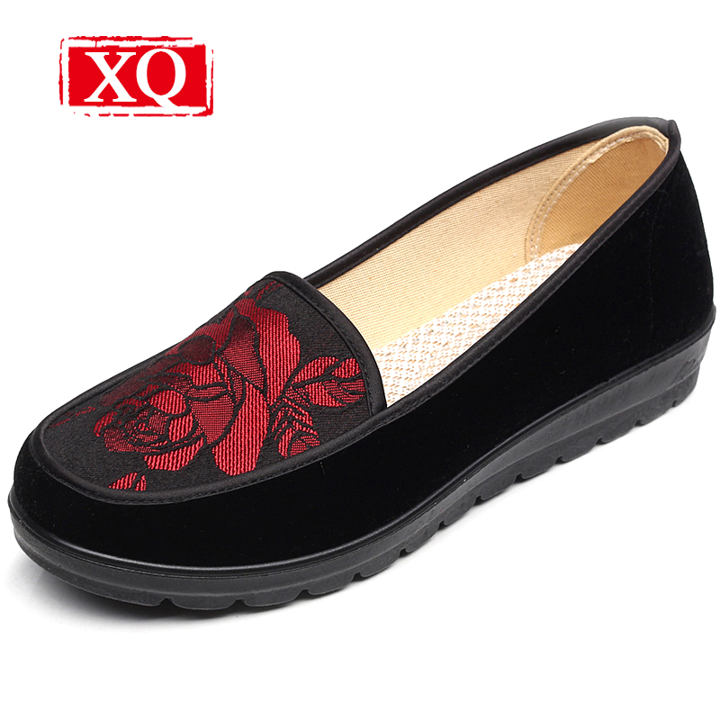 XQ Spring&Wutumn New Women' Shoes Fashion Embroidered Shoes Black Casual Cloth Shoes Non-slip Flats Over size Single Loafer 8356 hot sale 2016 new fashion spring women flats black shoes ladies pointed toe slip on flat women s shoes size 33 43