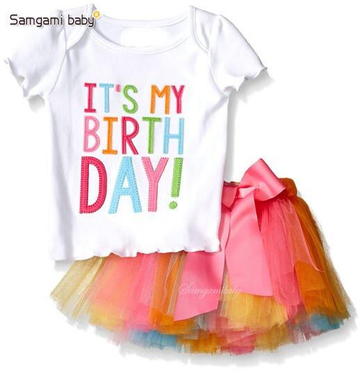 Rainbow Colors Its My Birthday Girl Tshirt And Tutu Skirt 1 5Y Children Girls