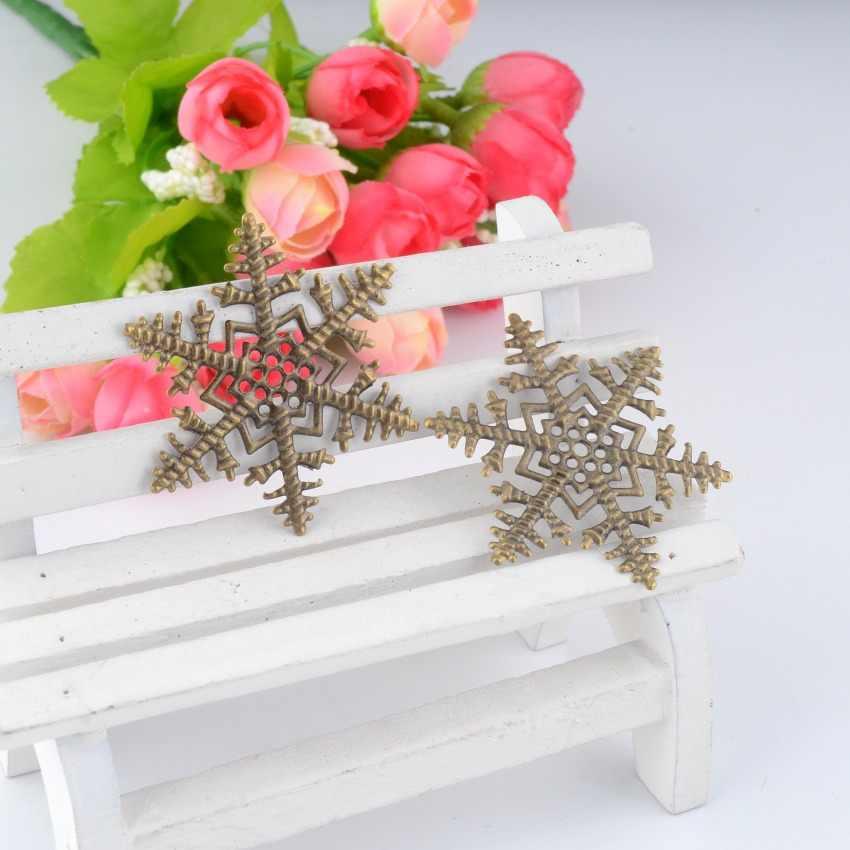 Darmowa wysyłka detaliczna 5 sztuk antyczny brąz filigran płatek śniegu okłady złącza metalowe rzemiosło dekoracji DIY ustalenia 45x45mm