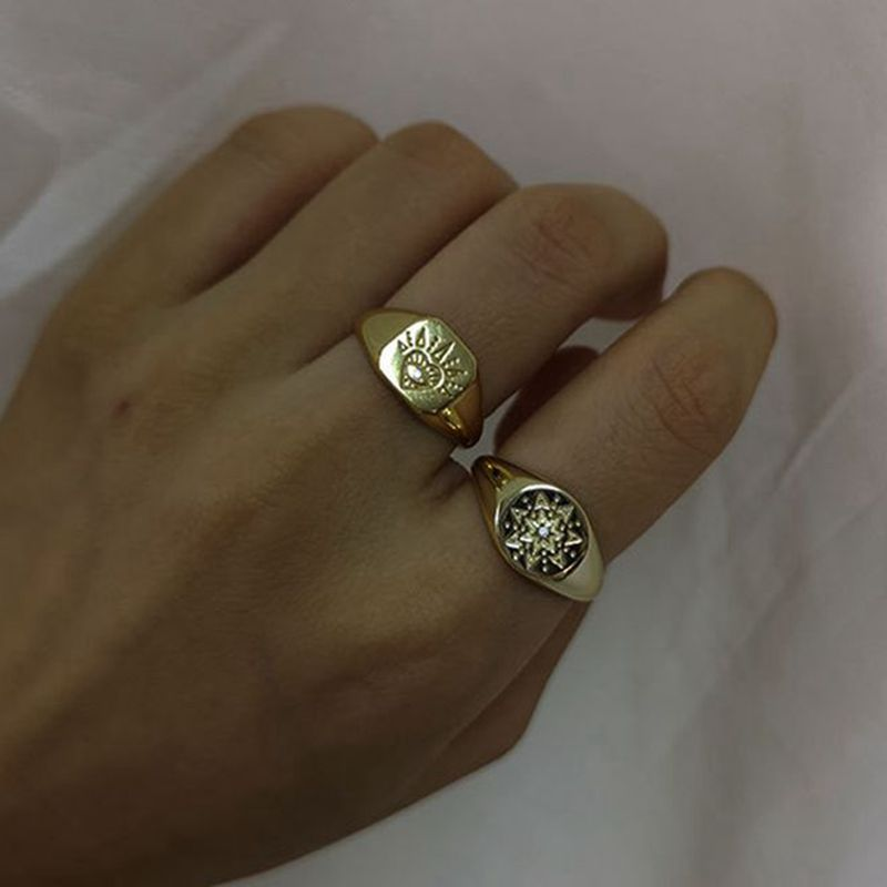 Silvology 925 Sterling Silver Eye Sun Flower Rings Gold Round Square Creative Luxurious Female Rings 2019 Workplace Jewelry Gift-in Rings from Jewelry & Accessories