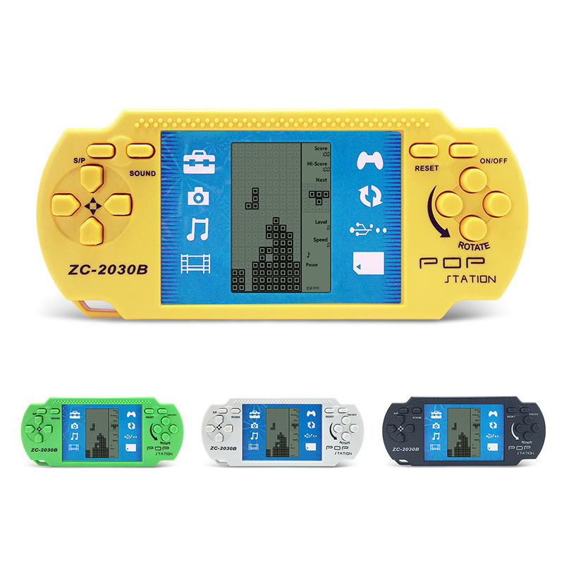 2pcs Children Classical Player Retro Portable Tetris Handheld Video Game Console Built-in 23 Games Tetris Kids Gaming Controller