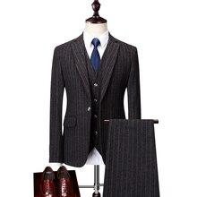 Hot Sale Men's Striped Suits 2018 Fashion Slim Fit Suits Business Casual 3 piece Suit Blazers Jacket Pants Trousers Vest Sets