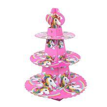 1pcs/set Unicorn Baby Shower Cartoon Birthday Party Decorations Supplies 3 Tier Cardboard Cupcake Stand 24 Cupcakes