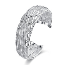 2015 new arrived 925 sterling silver jewelry big wide mesh open cuff bracelet  bangle for women promotion trendy wholesale