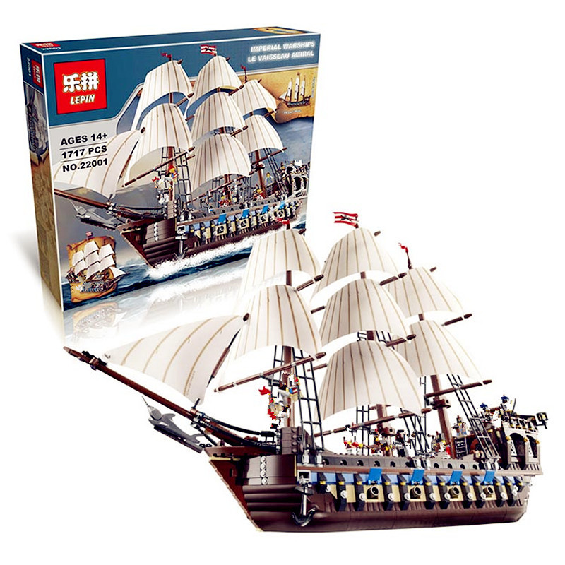 IN STOCK NEW LEPIN 22001 Pirate Ship Imperial warships Model Building Kits Block Briks Toys Gift 1717pcs Compatible 10210 susengo pirate model toy pirate ship 857pcs building block large vessels figures kids children gift compatible with lepin