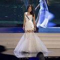 Miss Universo 2017 Sirena Vestidos de Noche Largo Moldeado Elegante Vestido de Organza de Noche Vestido De Festa Longo Sin Respaldo Desfile Gow