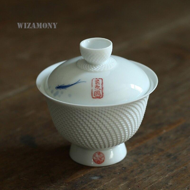 150ML WIZAMONY 손으로 그린 더블 피쉬 중국 스타일 가이완 티 보울 티 세트 주전자 고품질