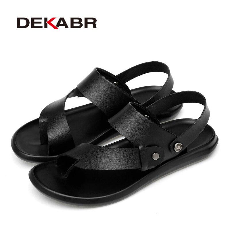 Image 5 - DEKABR Classic Men Sandals Comfortable Men Summer Casual Shoes Split Leather Big Size Soft Flip flop Men Breathable SlippersMens Sandals   -