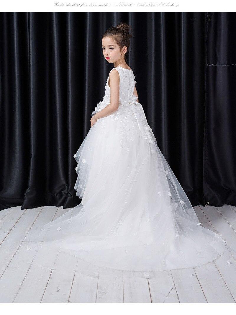 0539245c555 2018 новое платье для девочек модное удлинение тяжёлое платье для девочек  вечерние платье для свадьбы белый цветок Детские платья одежда 1291