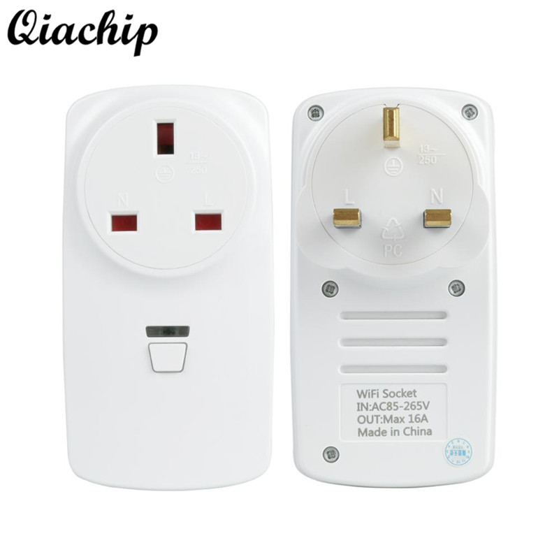 QIACHIP AC 220V UK Plug Wifi Low Power Smart Home Outlet Light Lamp Switch Socket Remote Control Switch Work With Amazon Alexa wireless remote control power socket smart rf socket control power for home appliance compatible with g90b wifi gsm sms alarm