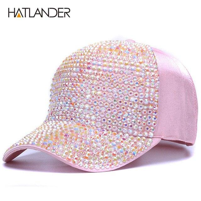 aba86e02521  HATLANDER Womens Rhinestone baseball caps Female luxury Bling hats outdoor  diamond sun hat Girl snap back gorras sports hat cap